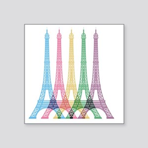 "Eiffel Tower Pattern Square Sticker 3"" x 3"""