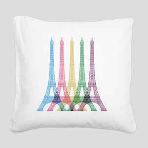 Eiffel Tower Pattern Square Canvas Pillow