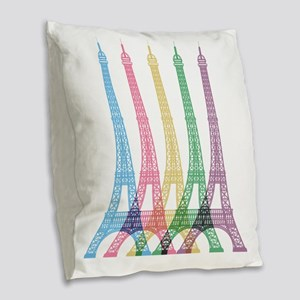 Eiffel Tower Pattern Burlap Throw Pillow