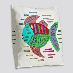 FISH MOLA DESIGN Burlap Throw Pillow