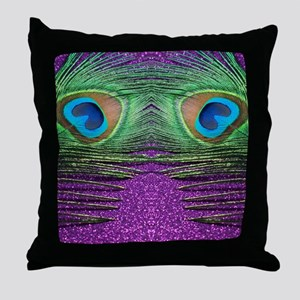Glittery Purple Peacock Curtains Throw Pillow