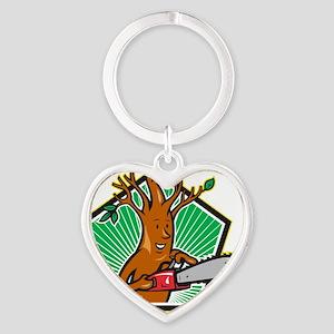 Tree Man Arborist With Chainsaw Heart Keychain