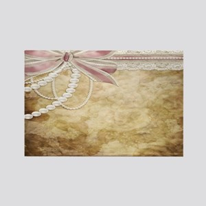 Vintage Pearls and Lace Rectangle Magnet