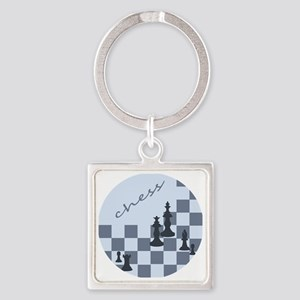 Chess King and Pieces Square Keychain