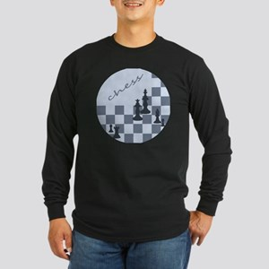 Chess King and Pieces Long Sleeve Dark T-Shirt
