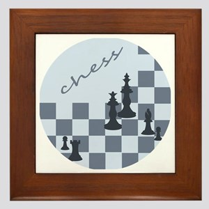 Chess King and Pieces Framed Tile