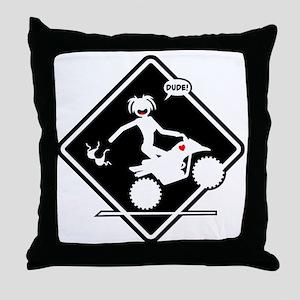 ATV MALFUNCTION black placard Throw Pillow