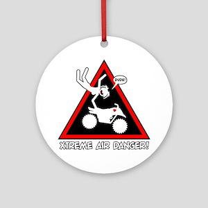 XTREME AIR STICKGIRL danger sign Round Ornament