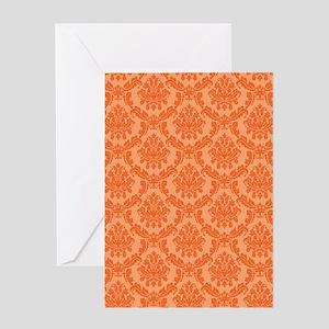 Orange on Orange Damask Greeting Card