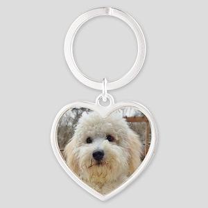 Goldendoodle Puppy Dog Heart Keychain