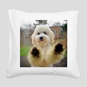 Goldendoodle Puppy Dog Square Canvas Pillow