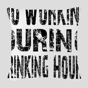 DRINKING HOURS - WHITE Woven Throw Pillow