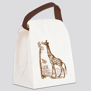 Giraffe with Tree Canvas Lunch Bag