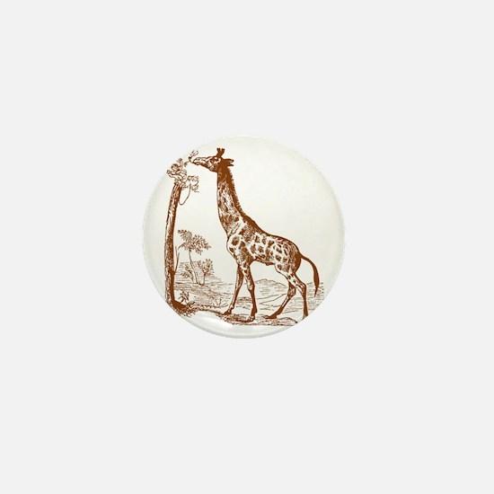 Giraffe with Tree Mini Button