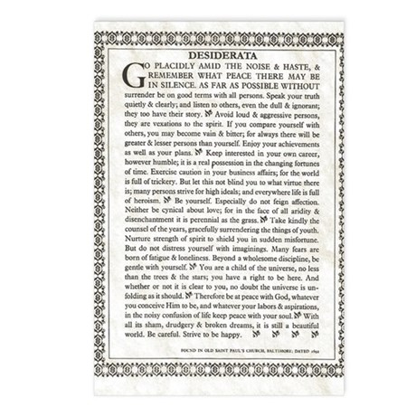 The Desiderata Poem By Ma Postcards (Package Of 8)  Condolence Template