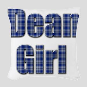 Dean Girl (blue plaid) Woven Throw Pillow