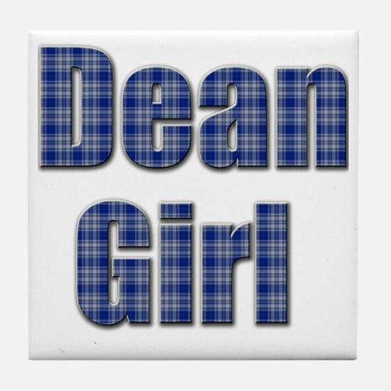 Dean Girl (blue plaid) Tile Coaster
