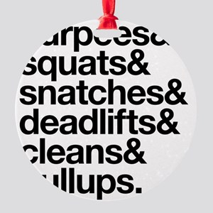 Crossfit Essentials Black Text Round Ornament