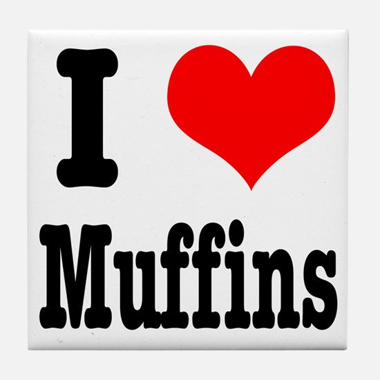 I Heart (Love) Muffins Tile Coaster