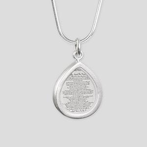 The Desiderata Poem by M Silver Teardrop Necklace