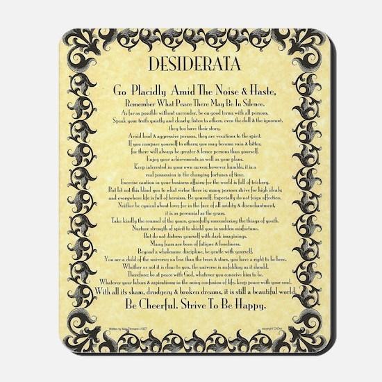 The Desiderata Poem by Max Ehrmann Mousepad