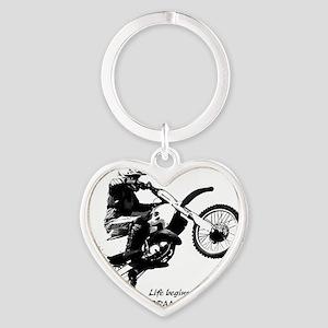 Dirtbike White Heart Keychain