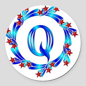 Blue Letter Q Monogram Round Car Magnet