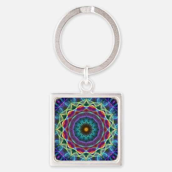 Inward Flower Square Keychain