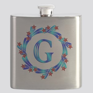 Blue Letter G Monogram Flask