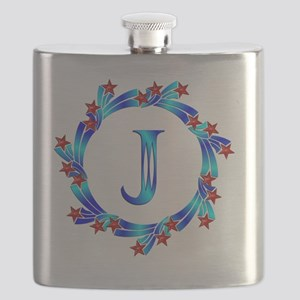 Blue Letter J Monogram Flask