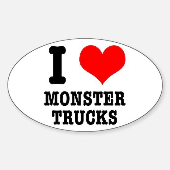 I Heart (Love) Monster Trucks Oval Decal