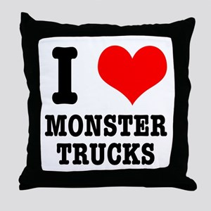 I Heart (Love) Monster Trucks Throw Pillow