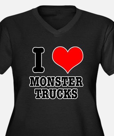 I Heart (Love) Monster Trucks Women's Plus Size V-
