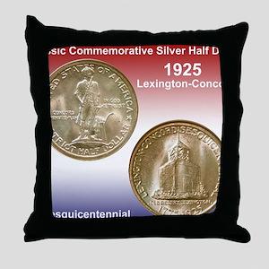 1925 Lexington-Concord Half Dollar Mo Throw Pillow