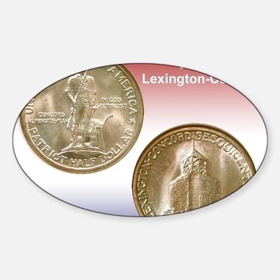 1925 Lexington-Concord Half Dollar  Sticker (Oval)