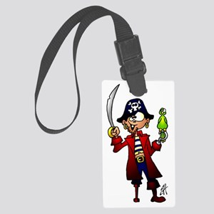 Pirate with sword and parrot Large Luggage Tag