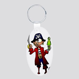 Pirate with sword and parro Aluminum Oval Keychain