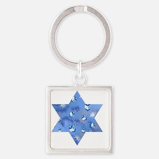 Judaica Dreidels Stars Star Of Dav Square Keychain