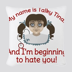 Talky Tina Twilight Zone Woven Throw Pillow