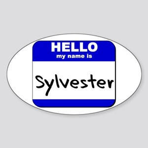 hello my name is sylvester Oval Sticker