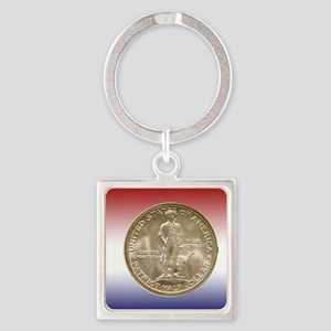1925 Lexington-Concord Half Dollar Square Keychain