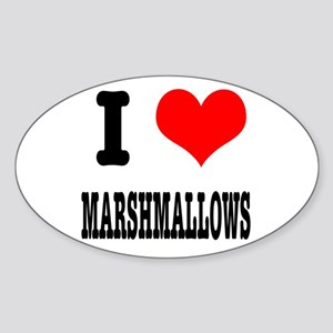 I Heart (Love) Marshmallows Oval Sticker
