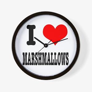 I Heart (Love) Marshmallows Wall Clock