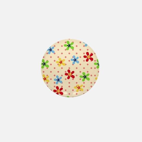 Flower Polka Dot Pattern Mini Button