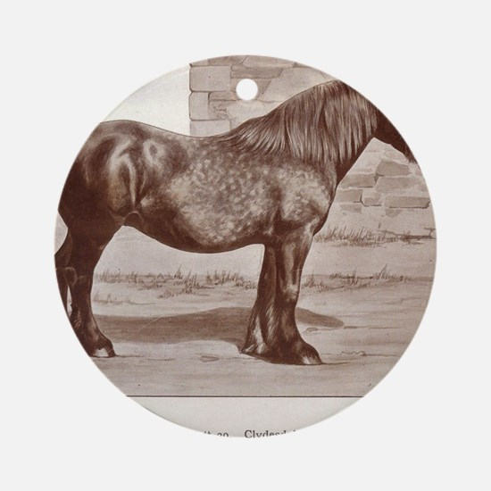 Clydesdale Drawing Round Ornament