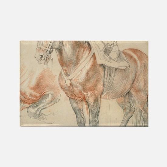 Vintage Drawing of Saddled Horse Rectangle Magnet