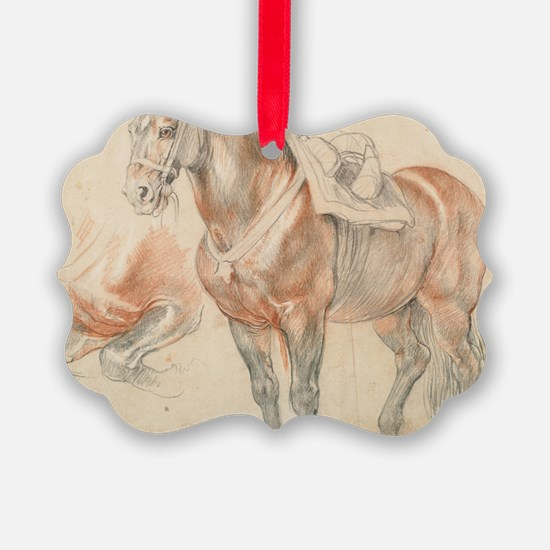 Vintage Drawing of Saddled Horse Ornament