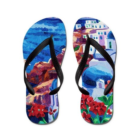 Greek Oil Painting Flip Flops By Admin Cp11748871