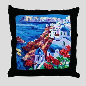 Greek Oil Painting Throw Pillow