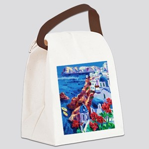 Greek Oil Painting Canvas Lunch Bag